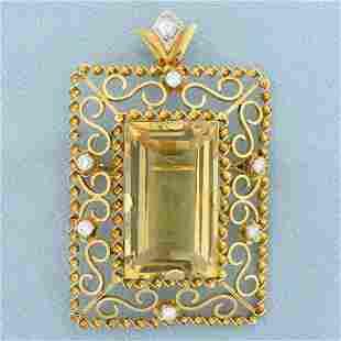 Vintage Very Large Statement Citrine and Diamond