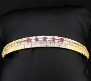 Pink Sapphire Omega Bracelet in 18K Yellow and White
