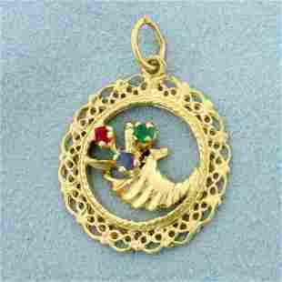Horn of Plenty Cornucopia Pendant in 14K Yellow Gold