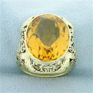 10t Citrine Solitaire Filigree Ring in 14K Yellow Gold