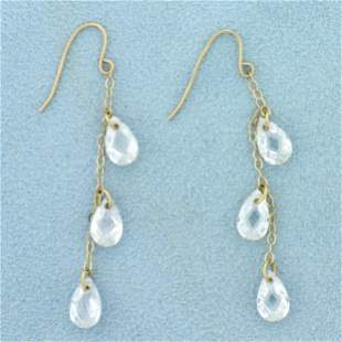 Crystal Teardrop Dangle Earrings in 10K Yellow Gold