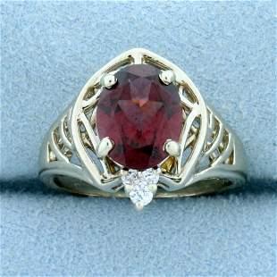 3ct Rhodolite Garnet and Diamond Ring in 14K White Gold