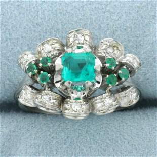 Vintage Emerald and Diamond Ring in 18K White Gold