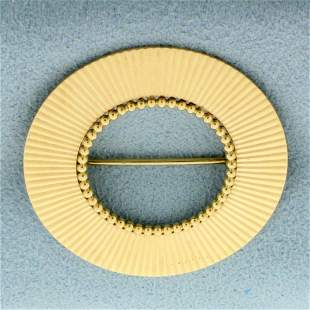 Vintage Circle Pin in 14K Yellow Gold