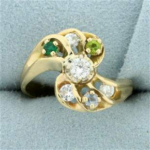 Vintage Diamond and Gemstone Ring in 14K Yellow Gold