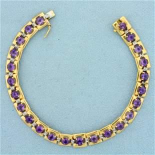 6ct TW Amethyst and Diamond Square Link Line Bracelet