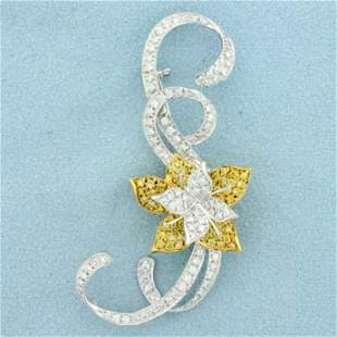 2ct TW Yellow and White Diamond Flower Pin in 18K
