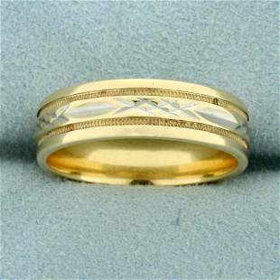 Mens Two Toned Diamond Cut Wedding Band Ring in 14K