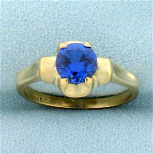Vintage 3/4ct Spinel Solitaire Ring in 10K Yellow Gold
