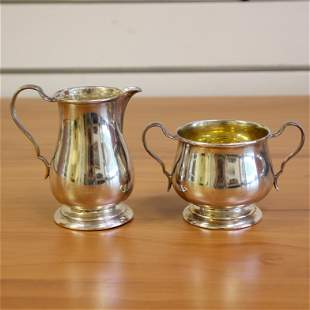 Lunt Sterling Silver Sugar Bow and Creamer Set