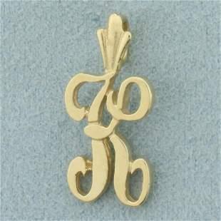 Initial K Pendant in 14K Yellow Gold