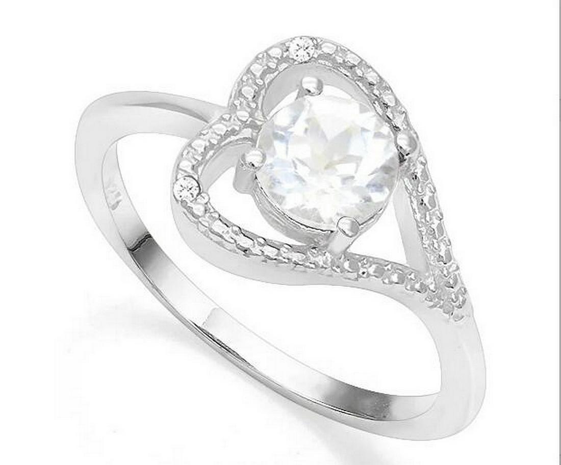 White Topaz & Diamond Heart Ring in Sterling Silver