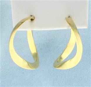 Designer Large Twisting Hoop Earrings in 18K Yellow