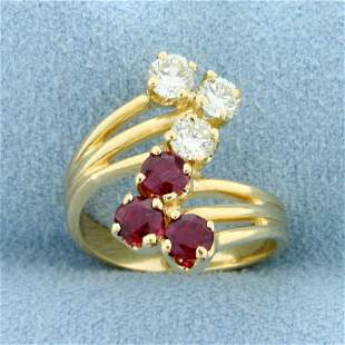Vintage 1ct TW Natural Ruby and Diamond Ring in 14K