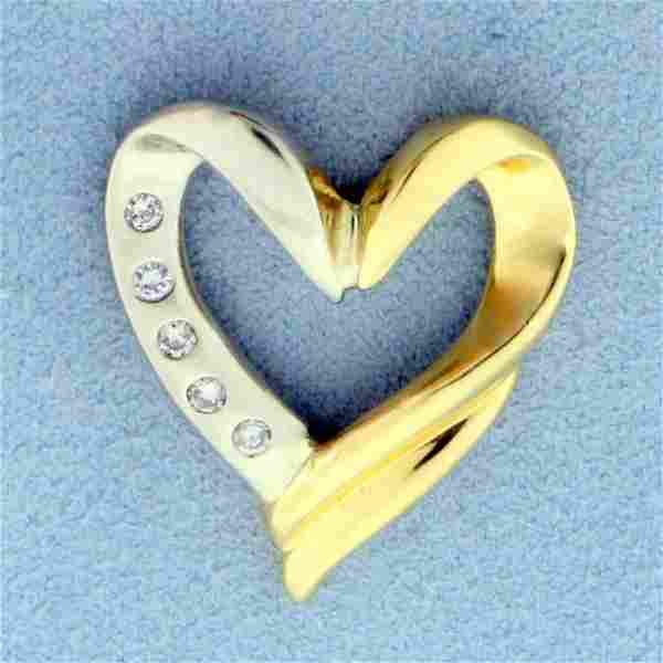 Diamond Heart Pendant or Slide in 18K Yellow and White
