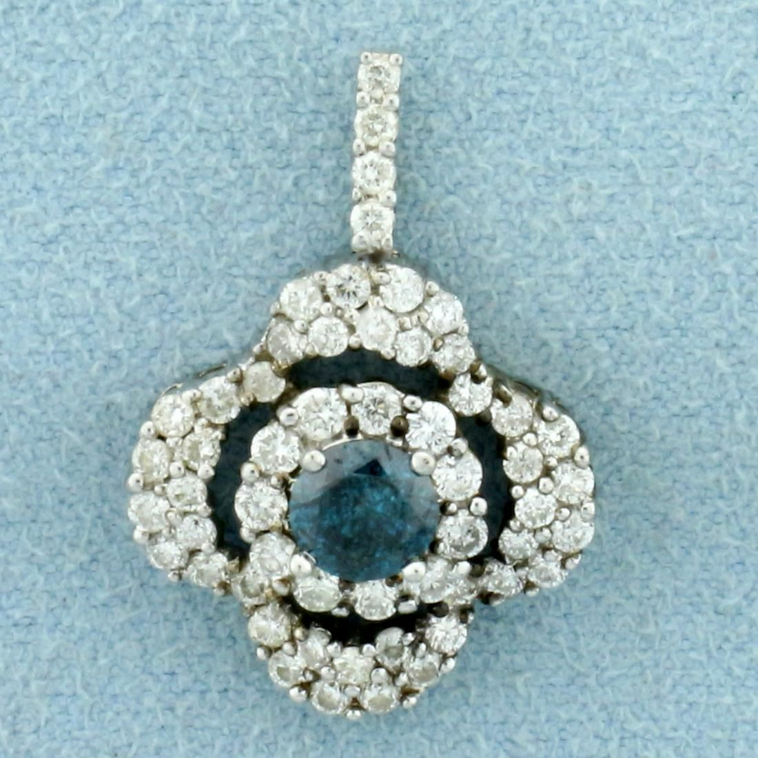 1 1/3ct TW Blue and White Diamond a Pendant in 18K