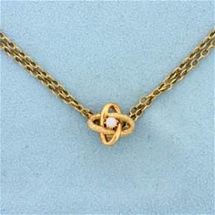 Vintage Opal Cosmic Design Cable Chain Necklace in 14K