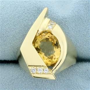 Custom Designed Citrine and Diamond Heavy Ring in 14K