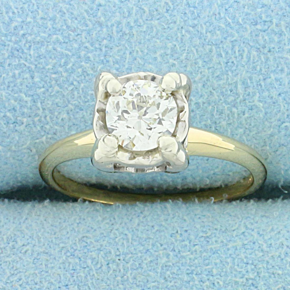 Antique 3/4ct Solitaire Old European Cut Diamond Ring
