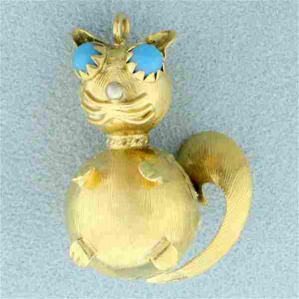 Custom Designed Turquoise Cat Pendant in 18K Yellow