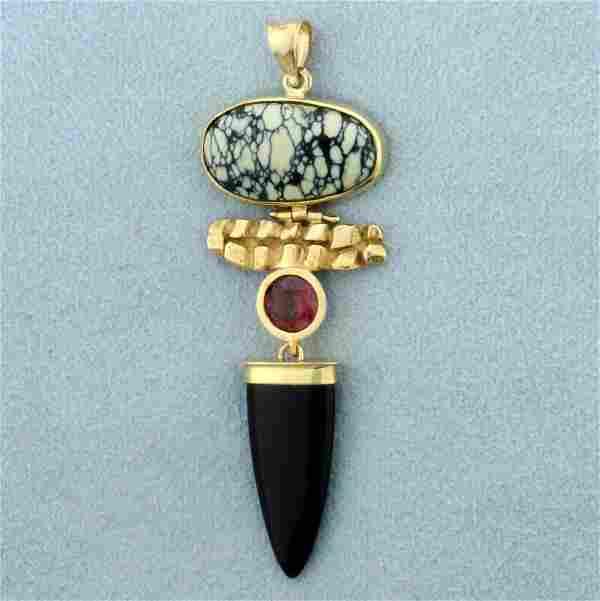 Custom Designed Morganite, Onyx and Agate Pendant in