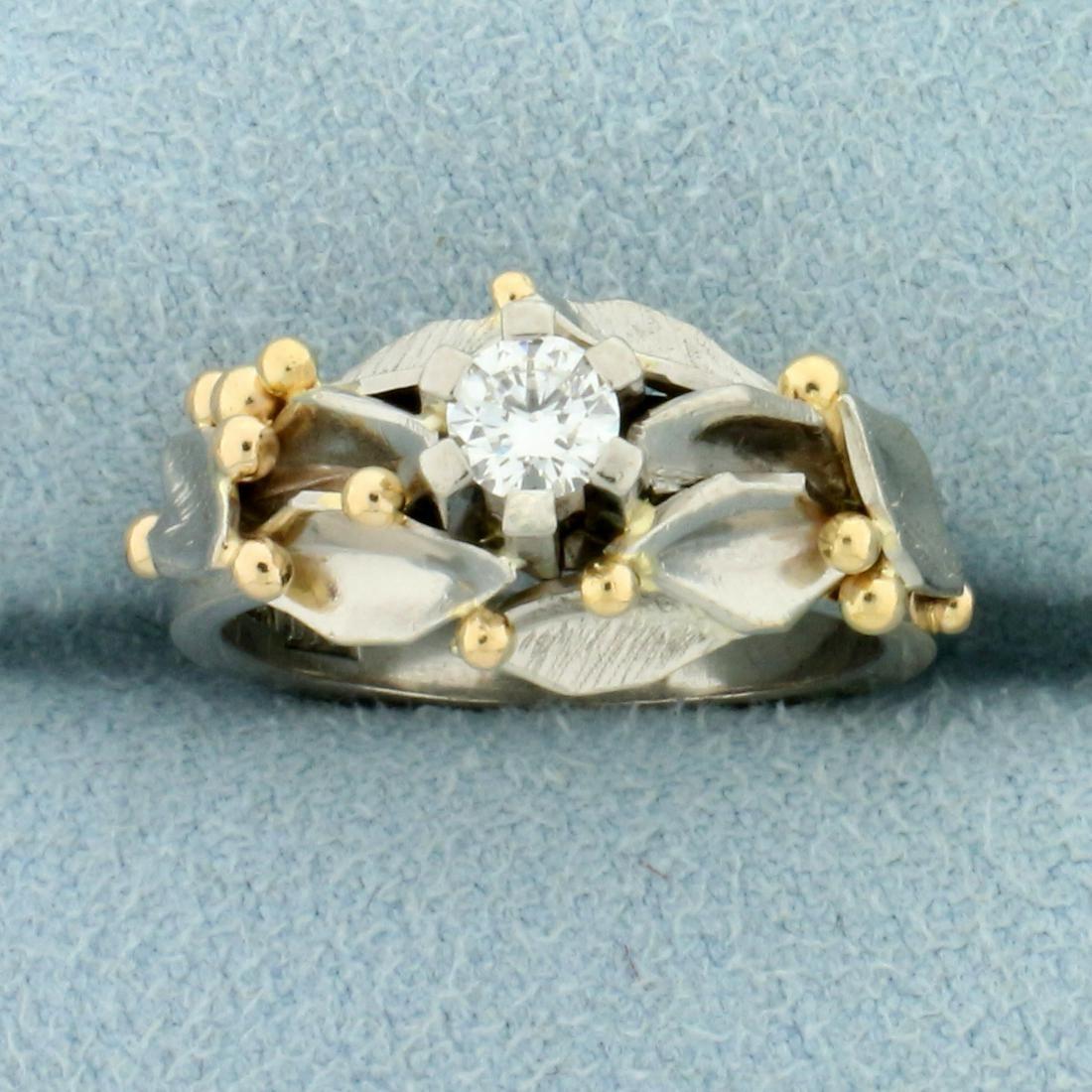Unique Custom Designed 1/4ct Diamond Solitaire Ring in