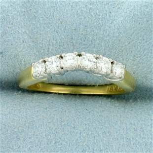 1/2ct TW Diamond Curved Wedding Band Ring in 18K Yellow