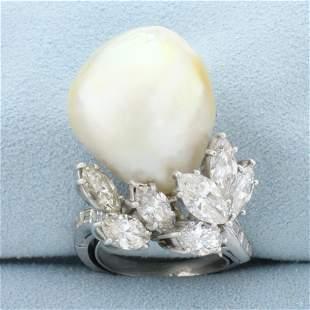 Custom Designed Baroque Pearl and Diamond Statement