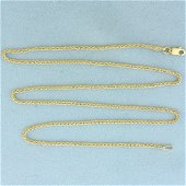 20 Inch Wheat Link Chain Necklace in 14K Yellow Gold
