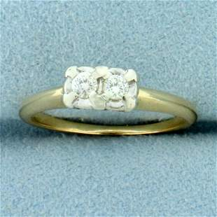 Two Stone Diamond Friendship Ring in 14K Yellow Gold