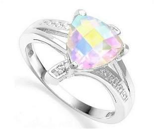 1.5CT Mercury Mystic Topaz & Diamond Ring in Sterling