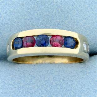 1ct TW Sapphire, Ruby, and Diamond Band Ring in 14K