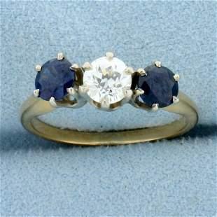 Antique 1.5ct TW Three Stone Sapphire and Diamond Ring