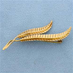 Designer Feather Pin in 18K Yellow Gold