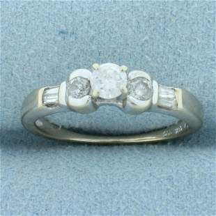 Vintage Round and Baguette Diamond Engagement Ring in