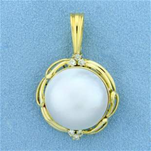 Large Mabe Pearl and Diamond Statement Pendant in 18K