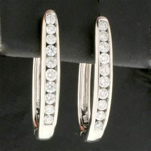 1ct TW Diamond Elongated Hoop Earrings in 14K White