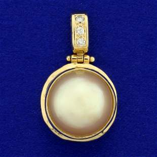South Sea Pearl and Diamond Pendant in 14K Yellow Gold