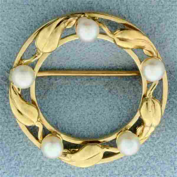 Vintage Leaf Design Cultured Pearl Pin in 14K Yellow