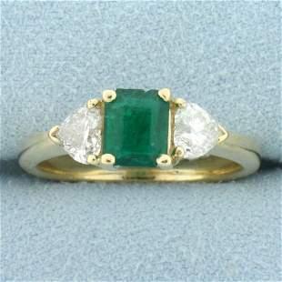 2ct TW Emerald and Heart Shaped Diamond Three-Stone