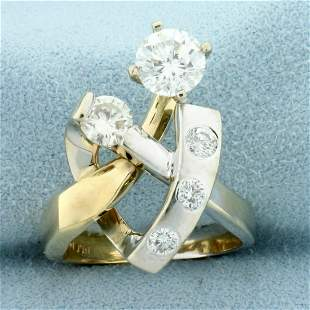 1.5ct TW Diamond Modern Abstract Two Tone Ring in 14K