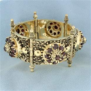 Heavy Antique Garnet Bracelet in 14K Yellow Gold