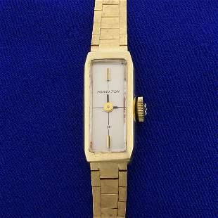 Antique Windup Ladies Hamilton Watch in Solid 14K