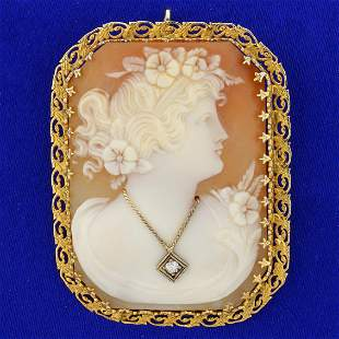 Vintage Diamond Cameo Pendant or Pin in 14K Yellow Gold