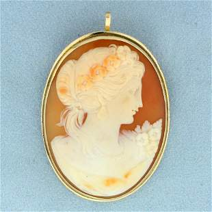 Vintage Large Cameo Pendant or Pin in 14K Yellow Gold