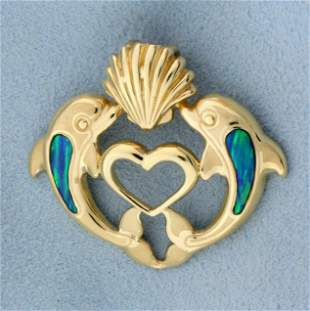 Opal Dolphin Heart Pendant or Slide in 14K Yellow Gold