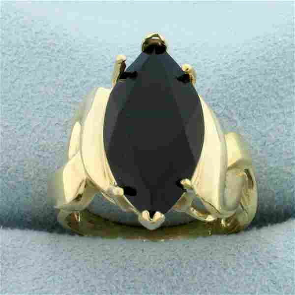 Onyx Solitaire Statement Ring in 10K Yellow Gold