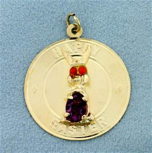 Happy Easter Amethyst and Topaz Pendant in 14K Yellow