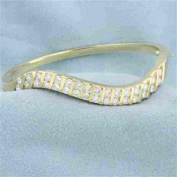 3ct TW Diamond Wave Design Bangle Bracelet in 14K