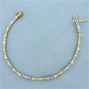 Diamond Heart and Bar Link Bracelet in 14K Yellow and